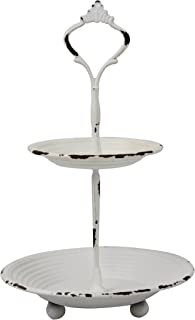 Stonebriar Small 2 Tier Worn White Metal Tray, Rustic Farmhouse Decor, Tiered Jewelry Tray for Vanity or Bathroom