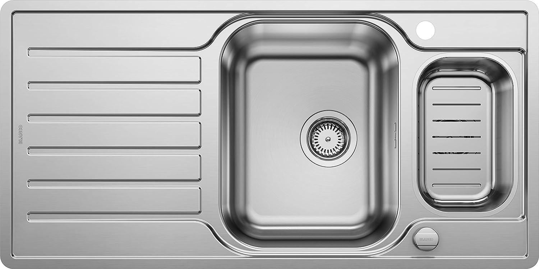 Weiß Lantos 6 S-IF Centric, Küchenspüle für normalen und flchenbündigen Einbau, Einbauspüle, reversibel, mit Ablauffernbedienung und Schale, Edelstahl Bürstfinish, 521754