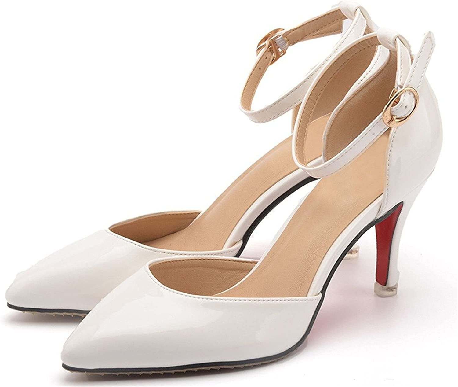 Tirahse Sweet Women's Elegant Pointed Toe Ankle Strap Thin Mid Heel Court Pumps Wedding Dress shoes