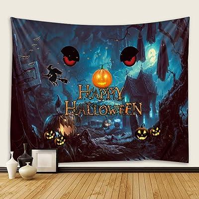 Yqs Halloween Tapiz Tapiz Escena de Halloween decoración de Tela de Fondo de la Pared Colgante (Color : Buff, Size : 900MMx700MM)