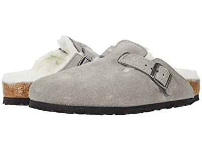 Birkenstock Boston Shearling (Stone Coin/Natural Suede/Shearling) Clog Shoes