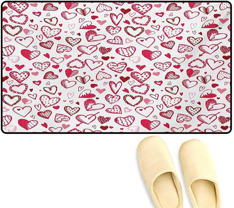 Door-mat,Valentine Hearts Gatherings Engagement Honeymoon Arrow Doodle Style Print,Door Mats Inside Bathroom Mat Non Slip,Magenta Ruby White,32 x48