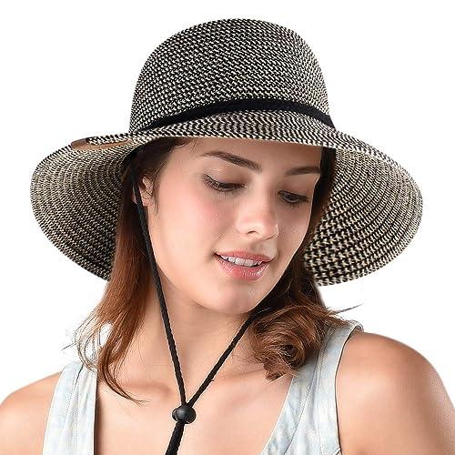 3e3700657d3 Womens Wide Brim Sun Hat with Wind Lanyard UPF 50 Beach Summer Sun Straw  Hats for