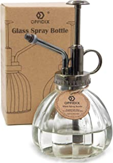 OFFIDIX Transparent Glass Watering Spray Bottle, 6.3 Inches Tall Vintage Style with Bronze Plastic Top Pump One Hand Water...