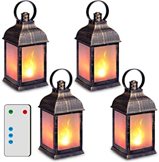 فانوس تزئینی 11 اینچ ، فانوس LED شعله ، (مشکی طلایی ، تایمر) فانوس های داخلی تزئینی ، فانوس آویز در فضای باز ZKEE (مجموعه 4)