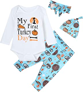 4PCS Baby Boys Girls Outfit Set My First Turkey Day Long Sleeve Romper