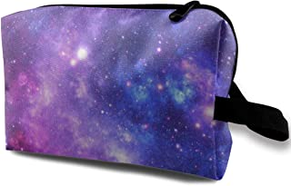 Purple Space Stars Travel Makeup Cute Cosmetic Case Organizer Portable Storage Bag for Women