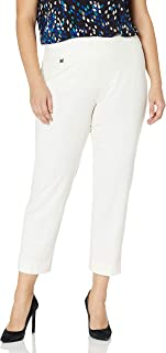 SLIM-SATION Women's Plus Size Pull on Solid Knit Easy Fit Ankle Pant