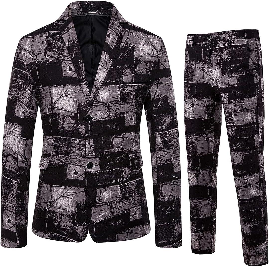 Sales Men's Plus Size Cheap Casual Printing Blazer Pieces Suits Waistcoat 2