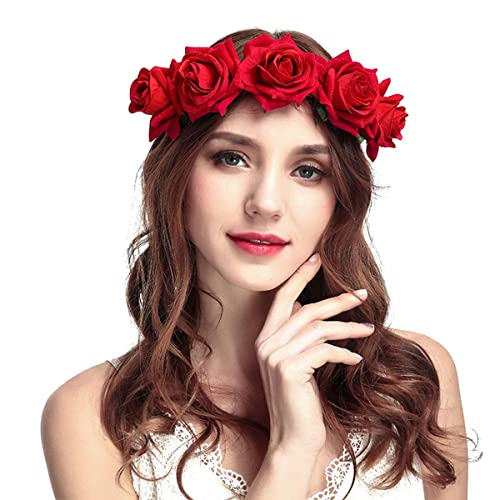 Rose Flower Headband - Women Rose Flower Crown Headband Wedding Party  Festival Hair Accessories To Girls 49a4ae57c8d