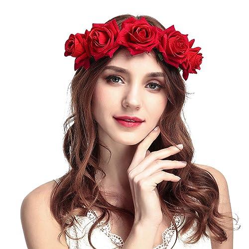 Rose Flower Headband - Women Rose Flower Crown Headband Wedding Party  Festival Hair Accessories To Girls 6fe797735de