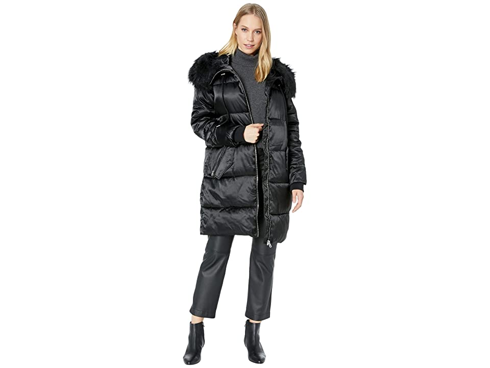 Jessica Simpson Puffer w/ Faux Fur Hood (Black) Women