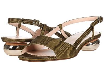 J.Crew Silk Faille Slingback Fiona Sandal (Olive) High Heels