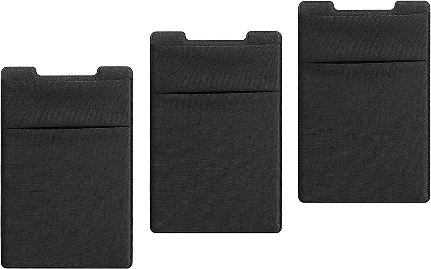 TalkWorks Phone Card Holder Adhesive Wallet Stick On (3 Pack) Stretchy Dual Pocket Cell Phone Back Case Sleeve
