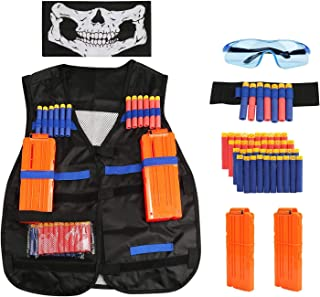 MumooBear Tactical Vest Kit Kids for Nerf Guns N-Strike Elite Series with 1Pcs 8-Dart Wrist Band 40 Pcs Soft Foam Darts Bu...