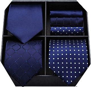 HISDERN Lotto 3 PCS Cravatta da uomo Polka Dot Check Stripe tinta unita Festa di nozze Fazzoletto Cravatta e fazzoletto - ...