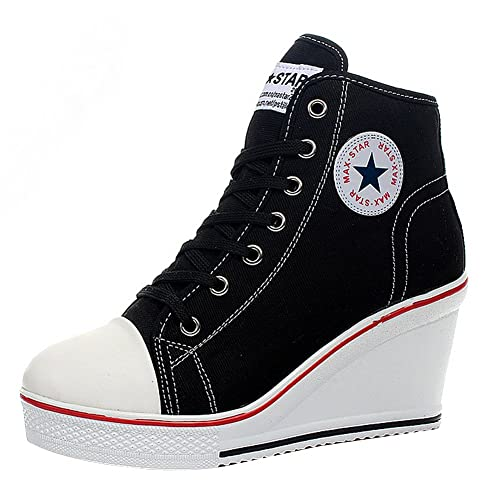 aa023088b4ea Padgene Women s Canvas Wedge Trainers Ladies Lace Up Side Zip High Top  Ankle Boots Sneaker Pump