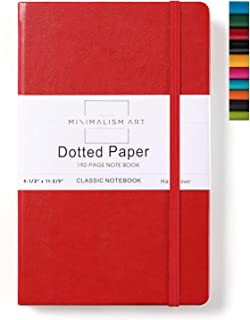 Minimalism Art, Classic Notebook Journal, A4 Size 8.3 X 11.4 inches, Red, Dotted Grid Page, 192 Pages, Hard Cover, Fine PU Leather, Inner Pocket, Quality Paper-100gsm, Designed in San Francisco