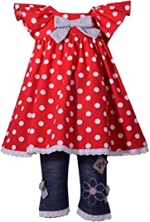 Little Girls Red Polka Dot Flutter Sleeve 2 Pc Pant Outfit 2T-6X
