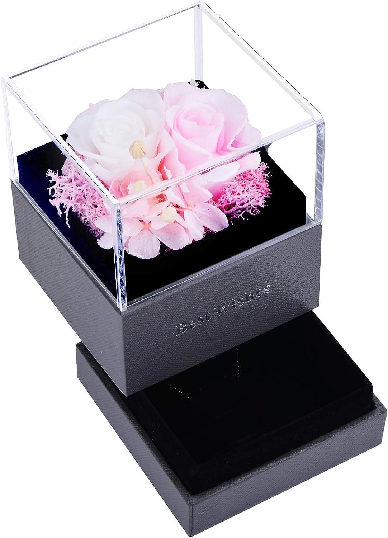 Rosa Real Preservada Eterna Hecha a Mano, Caja de Joyería Ramos, San Valentin Novia Regalos para Bodas de Aniversario Pareja para Mujer Cumpleaños,Rosa + Blanco