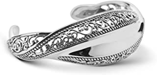 Sterling Silver Wave Cuff Bracelet Size S, M or L