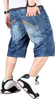 Bormran メンズ デニムショーツ ゆったり バギーパンツ ジーパン 極太 ショートパンツ ミディアムパンツ 七分丈 大きいサイズ ヒップホップ お兄系 刺繍 BQ93443-1