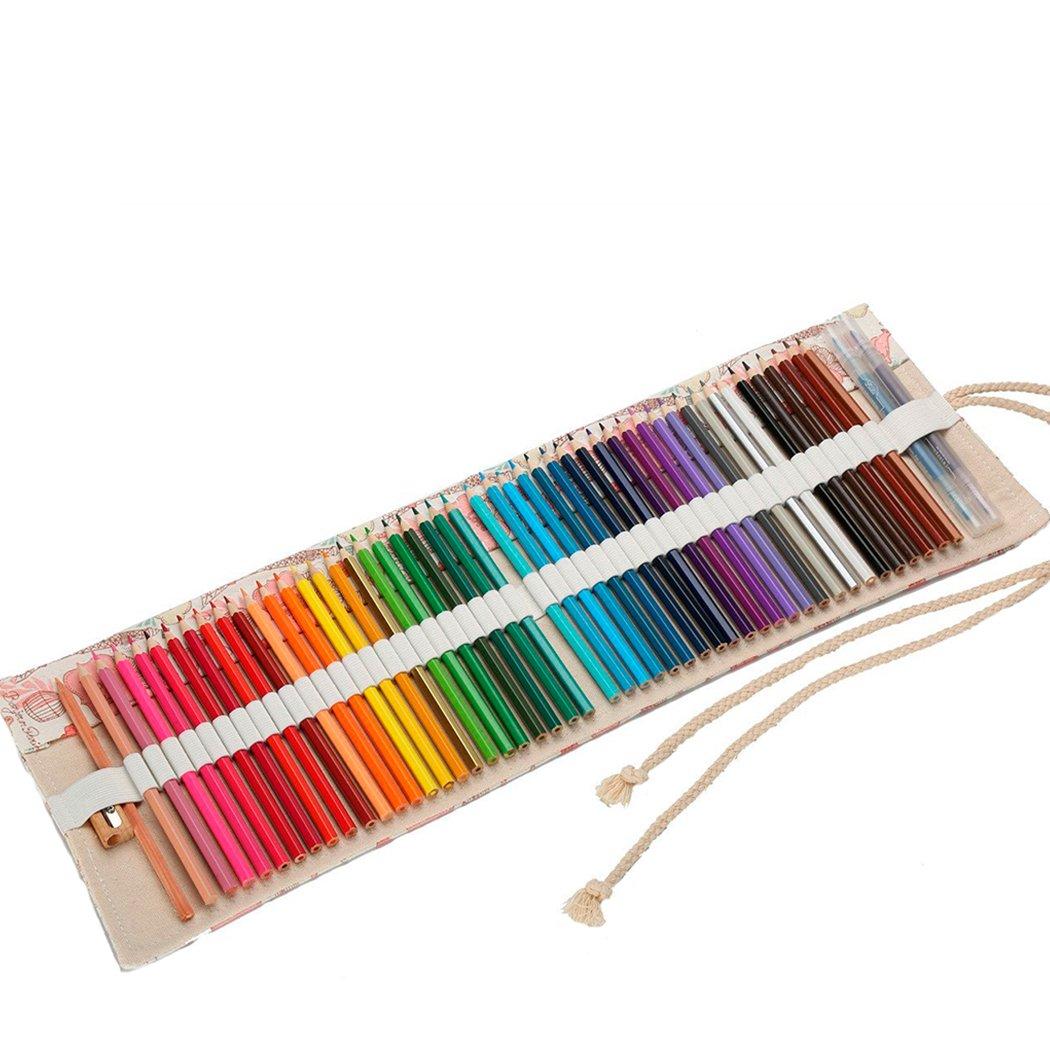 Abaría - Bolsa de lápiz de Colores, Grande Estuche Enrollable 36 lápices, portalápices de Lona, Organizador para Arte, Flores 36 Agujeros: Amazon.es: Electrónica