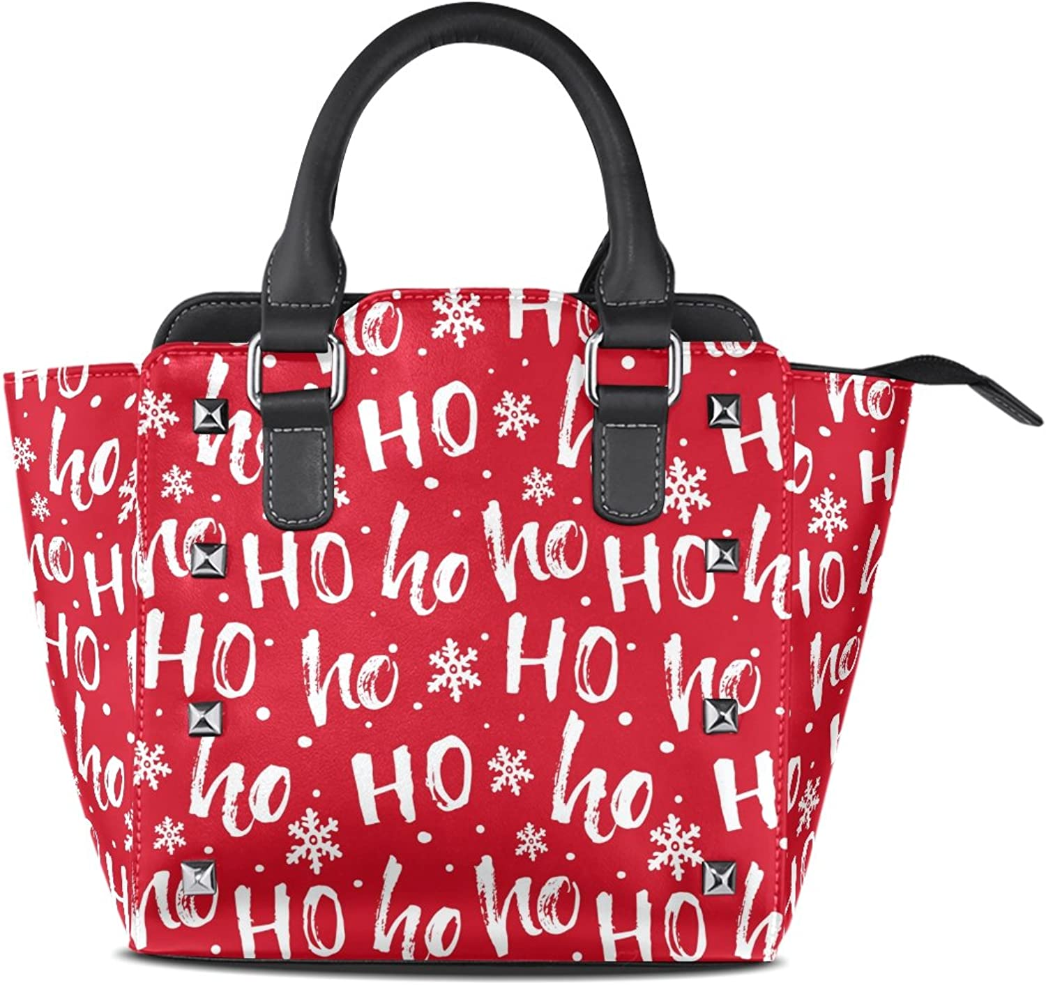 My Little Nest Women's Top Handle Satchel Handbag Christmas Santa Claus Laugh Ho Red Background Ladies PU Leather Shoulder Bag Crossbody Bag