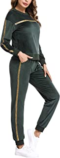 Women's Velour Sweatsuits Sets 2 Piece Outfits Tracksuit Long Sleeve Pullover and Sweatpants Sport Suits