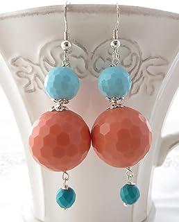 Orecchini corallo rosa e turchesi, pendenti in argento 925, gioielli contemporanei, bijoux moderni, regalo per lei, creazi...