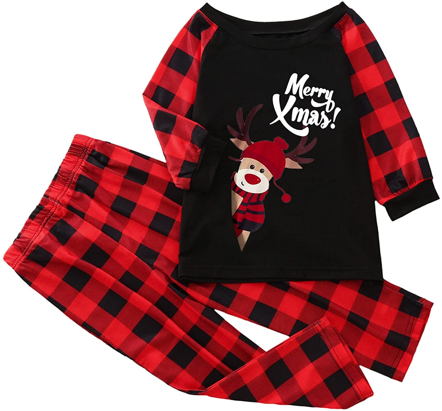 DVCB Christmas Pajamas for Family Round Neck Check Large Size Sleepwear Cute Calf Print Homewear for Kids