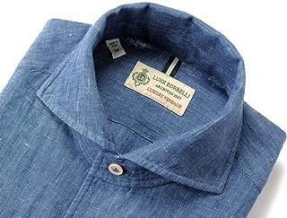 ルイジボレッリ ルイジボレリ LUIGI BORRELLI / 20SS!製品洗いリネンポプリン無地イタリアンカラーシャツ「VESUVIO(9129)」 (インディゴブルー) メンズ