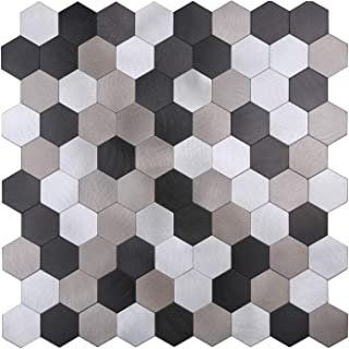 HomeyMosaic Peel and Stick Tile Backsplash for Kitchen Wall Decor Aluminum Surface Metal Mosaic Tiles,Hexagonal Honeycomb(12