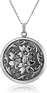 Sterling Silver Round Embossed Antique Finish Locket Necklace, 20