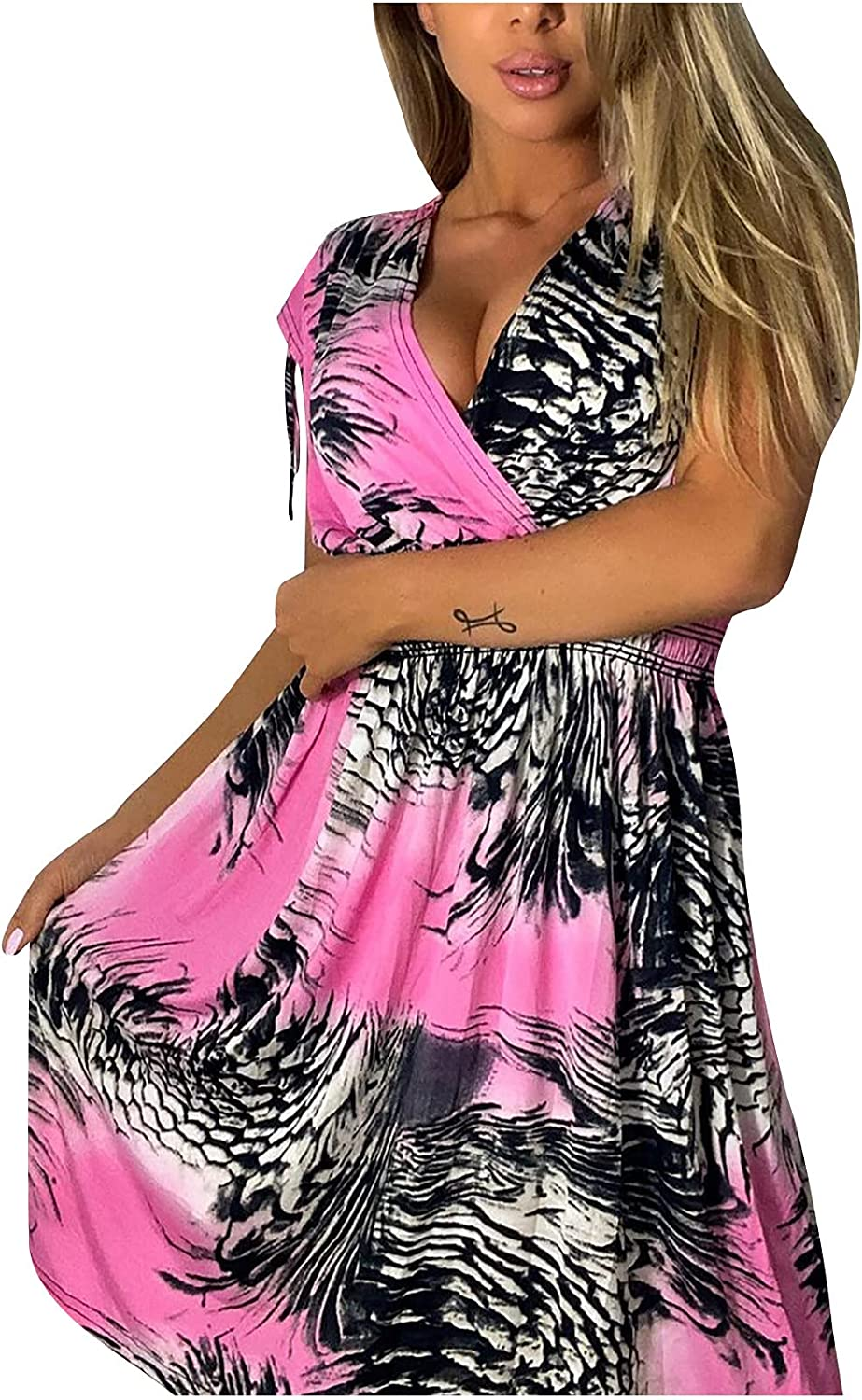 Casual Summer Dress for Women Wai V-Neck Empire Print Super Special OFFer SALE held Sleeveless