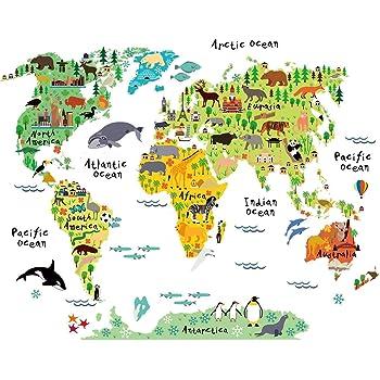 Pegatina de Pared Decoración Habitacion Infantil Mapa Mundi. Vinilo Decorativo Mapa para NIÑOS. Pegatina Decorativa Paises Y CONTINENTES. Tamaño 80x100 cm.: Amazon.es: Hogar