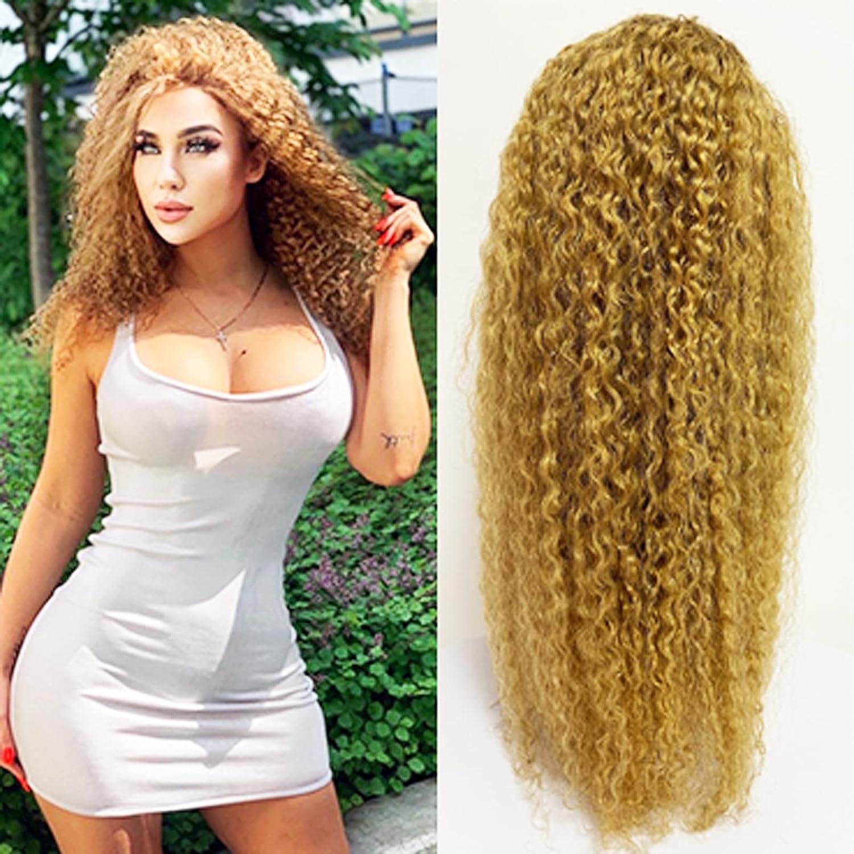 KAFEIER 27 List price Cheap mail order shopping Wig Human Hair Curly Lace Transparent Blond 4X4 Honey