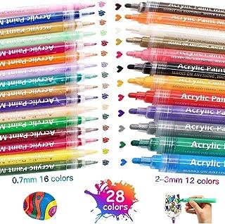 XIAPIA Marker Pen Pintura Acrílica 28 Colores Rotuladores Permanentes Líquidos Dibujo Artes Conjuntos Estacionarios para Rocas de Vidrio Pizarra Guijarros Pintura Artesanías de Tela de Cerámica