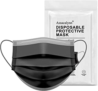 Assacalynn 50pcs Disposable Face Mask with Wider Elastic Ear Loops, 3-Layer Safety Mask for Dust, Droplets Suitable for Adults, Teenagers, Men, Women, Indoor, Outdoor - Black