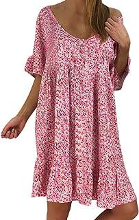 Auifor, Grande con Cuello en V de Flores de Manga Corta de Verano de la Falda de Gran tamaño pequeño Mini Falda del Vestido de Fiesta de la Playa de la Moda de Las Mujeres con Volantes Ocasionales