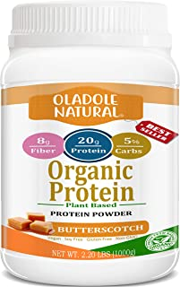 Oladole Natural Plant Based Organic Protein Powder, Caramel Butterscotch - Vegan, Low Net Carbs, Non Dairy, Gluten Free, L...