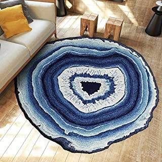 USTIDE Washable Creative Growth Rings-Multicolored Modern Round Rug Rural Style Coffee Table Mat Non-Skid Living Room Carpet,47.2