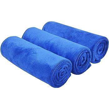 Kinhwa Autotuch Trocknen Ultra Saugfähig Autopflege Mikrofasertücher Groß Und Dick Profiqualität Poliertücher 40cm X 60cm 3 Stück Blau 40cmx60cm Auto