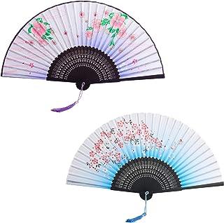 KATOOM Abanico Verano 2pcs Plegable Estilo Chino y japonés Ventilador Flor Madera de Mano violáceo y Azul para enfiar el Cuerpo Bajar Calor y Decorar Boda Cosplay casa Mesa y Fiesta