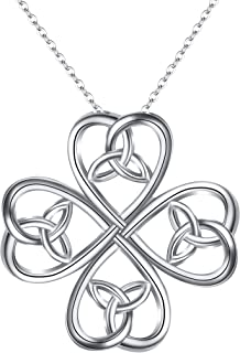 925 Sterling Silver Classic Love Celtic Four Leaf Clover Pendant Necklace for Women Bride