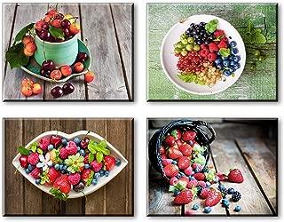 Piy Painting 4X Impresión de la Lona de Fruta Fresca Cuadro en Lienzo Cerezas Fresa Imagen Arándano Impresion en Calidad fotografica Decor para Restaurante Cocina Aniversario 30x40cm