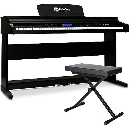 Schubert Subi88P2 Piano digital de pared con banco (88 Teclas sensibles al tacto, teclado 7 ¼ octavas, salida MIDI, 2 Pedales, 138 instrumentos, ...