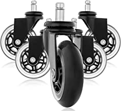Nrpfell Replacement Wheels, Office Chair Caster Wheels for Your Desk Chair, Quiet Rolling Casters Perfect for Hardwood Floors, Carpet, Laminate and Tile - Set of 5