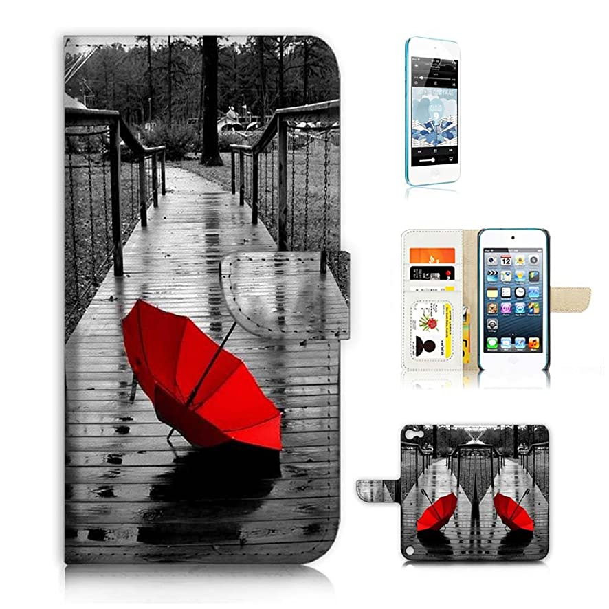 ( For ipod 5, itouch 5, touch 5 ) Flip Wallet Case Cover & Screen Protector Bundle! A20112 Red Umbrella