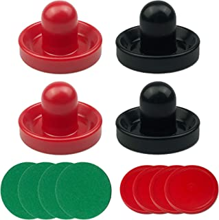 PPXMEEUDC 4 PCS Air Hockey Pushers and 4 PCS Red Air Hockey Pucks Great Goal Handles Pushers Replacement Accessories for Game Tables